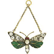 Art Nouveau German Silver Plique A Jour and Paste Butterfly Pendant