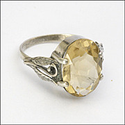 English Arts and Crafts Bernard Instone  Citrine and Silver Ring - US 9 and UK R½