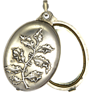 French Art Nouveau Holly Silver Mirror Slide Pendant