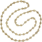 """French Arts and Crafts Silver Gilt Opera Length Necklace - 38½"""" - 43.1 grams"""