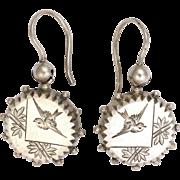 Victorian Sterling Silver Aesthetic Period Earrings - Pierced Ears