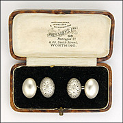 English Victorian 1894 Sterling Silver Cufflinks - CHARLES HORNER