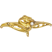 French Art Nouveau 18K Gold Griffin Pin with Pearl
