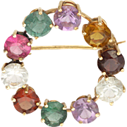 14K Gold and Gemstone Circle Pin