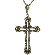 French Silver Marcasite Cross and Chain Necklace