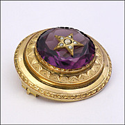 French Victorian Gold Plated and Amethyst Paste Star Pin