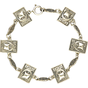 English Chester Hallmark Viking Ship Silver Bracelet - S & Co