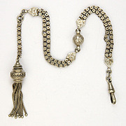 Victorian Silver Double Chain Albertina with Tassel  - 18.4 grams