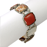 Victorian Scottish Agate on Silver Metal Bracelet -  7¾""
