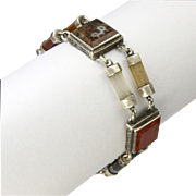 Victorian Scottish Agate Sterling Silver Bracelet - 7""