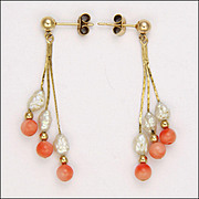 9k Gold Coral and Blister Pearl Drop Earrings - Pierced Ears