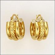 Italian 18 Carat Gold Hoop Earrings - Pierced Ears
