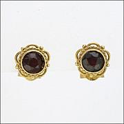 9K Gold and Garnet Small Dainty Earrings for Pierced Ears