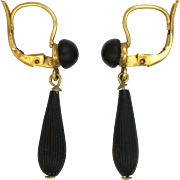 French Victorian Gold Filled and Jet Drop Earrings - ORIA