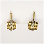 SALE PENDING French Art Deco Gold Filled Barrel Motif Earrings - FIX