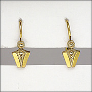 SALE PENDING French Art Deco Gold Filled Tapered Earrings - FIX