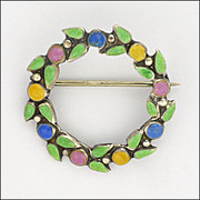 English Art Deco Silver Enamel Circle Pin - Unsigned Bernard Instone