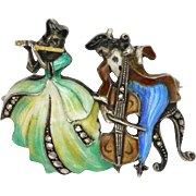German Silver Enamel Musician Couple Pin