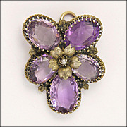 Victorian Amethyst Pansy Silver Gilt Pendant and PIn