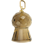 Scottish Circa 1900-1910 Smoky Quartz 9K Topped Thistle Pendant