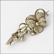 French Import Antique Silver Pansy Pin