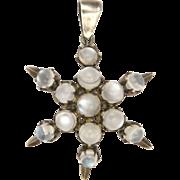 Moonstone on Silver Star Pendant