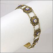Victorian Scandinavian Silver Gilt and Enamel Flower Bracelet