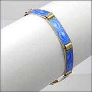 Norwegian Silver Enamel Leaf Bracelet - AKSEL HOLMSEN