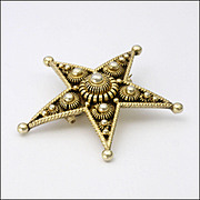 Antique Norwegian Silver Gilt Star Pin