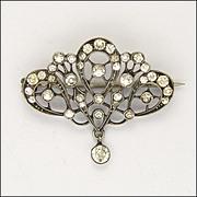 Art Nouveau Silver Paste Pin with Drop