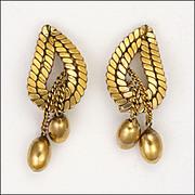 French MURAT 18K Gold Filled Leaf Earrings - Clips