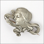 Art Nouveau or Jugendstil 900 Silver Lady Pin