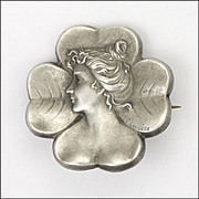 French Art Nouveau Silver Lady in Clover Pin - E Lavillette