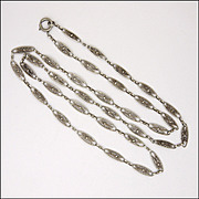 French Antique Silver Sautoir or Opera Length Necklace