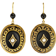 Victorian Circa 1870 Large 18K Onyx Earrings - Pierced Ears