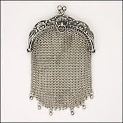 SOLD French 19C Silver Mesh Purse - Floral Motifs