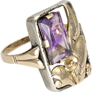 Arts and Crafts High Carat Gold and Amethyst Ring