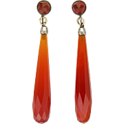 Art Deco 9K Gold and Carnelian Chalcedony Drop Earrings - Screw Backs
