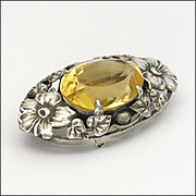 European Arts and Crafts Silver Flowers and Citrine Pin