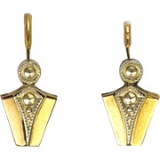 French Art Deco Gold Filled Lever Back Earrings - FIX