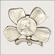French Circa 1910-1920 Silver Joan of Arc in Lucky Clover Pin