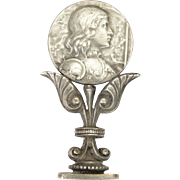 French Art Nouveau Joan of Arc Silver Plated Seal