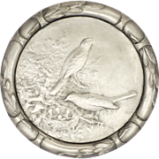 Swiss Silver Plated Birds on Nest Presentation Medal - HUGUENIN
