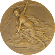French Electricity Allegorical Lady Bronze Boxed Medal - CHARLES PILLET