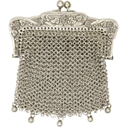 French 19C Silver Mesh Purse with Grape Vines