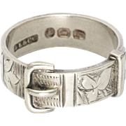 Victorian English Sterling Silver Buckle Ring - Hallmarked 1893