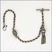"Victorian Silver Albertina Bracelet and Tassel - 7½""  -  6 grams"