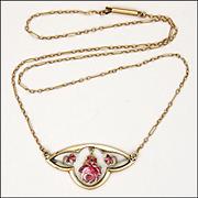 Edwardian 9K Gold Enamel Rose Necklace