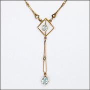 English Edwardian 9K Gold and Aquamarine Drop Necklace