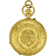 Swiss Antique Circa 1900 18K Gold Pocket Watch Pendant